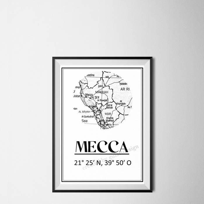 Mecca Map, Städte Map, Islamische Kunst, islamic picture, islamic art, islamic wall art, islamic decor, Mecca