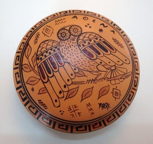 Pyxis hand painted Geometric period diameter 9cm | pavlos - Ceramics & Pottery on ArtFire