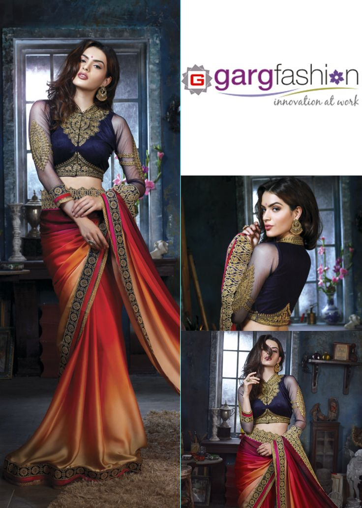 """""""Pure velvet with swarovski work Bloue Multi Colored Designer Embroidered Saree"""" Click here for get this product.. http://gargfashion.com/Designer-Collection/With-Pure-velvet-with-swarovski-work-Bloue-Multi-Colored-Designer-Embroidered-Saree-p2263c112.html"""