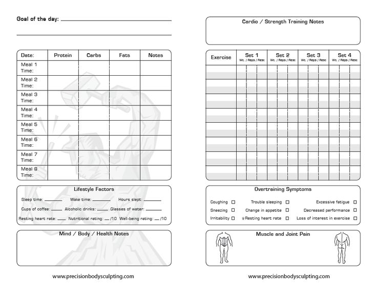 Image detail for -exercise and nutrition log male print in landscape