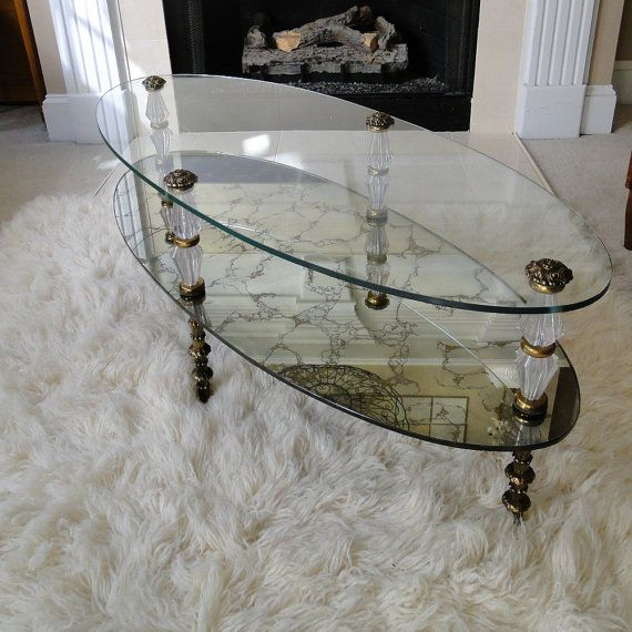 vintage coffee table gold veined reflective two tiered glass table