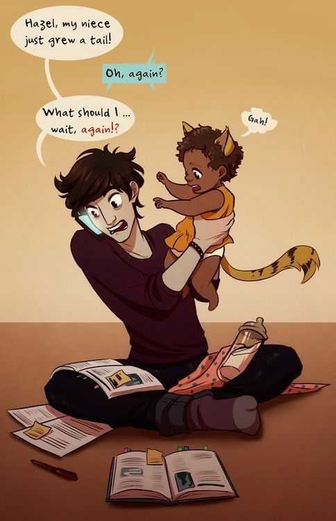 Nico Di Angelo in the future, babysitting Hazel Levesque and Frank Zhang's daughter. This is adorable :)