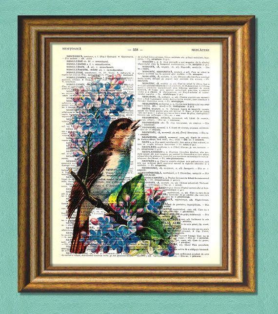 BIRD & BLUE FLOWER  Dictionary Art  Print  by littlevintagechest