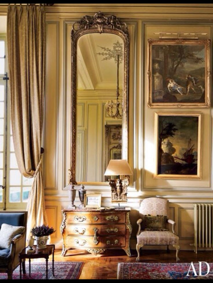 Great effect- mirror, paintings, drapery.