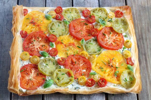 Tarte fine aux tomates multicolores et pâte filo - Contenus recommandés