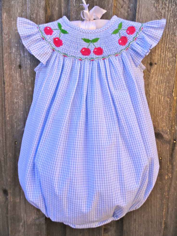 Blue Gingham Smocked Cherry Bubble from Smocked Auctions