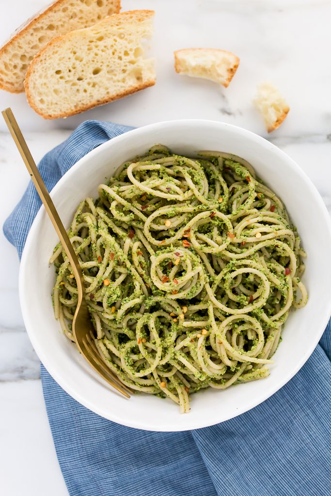 Roasted Broccoli-Pepita Pesto Pasta   Vegan, Gluten-Free