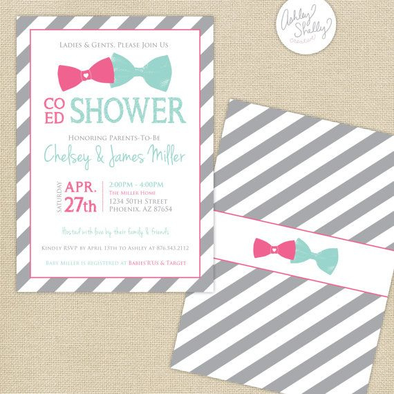 co ed baby shower bows and stripes invitation aqua pink gray coed