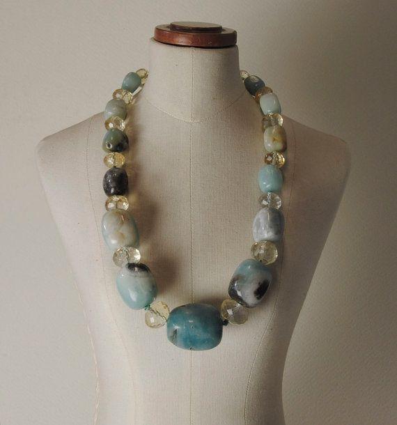 Andean Opal, Citrine Quartz and 925% Silver closure necklace