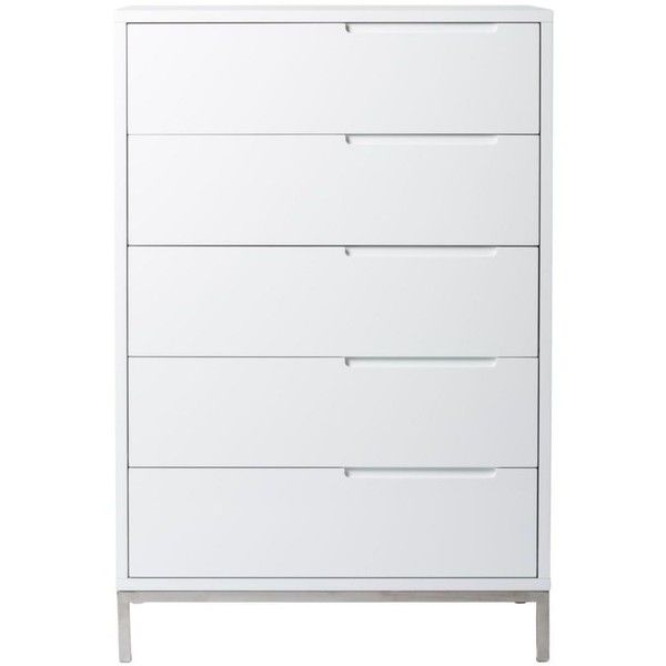 Moe's Home Collection Naples Tall Dresser White By (£1,060) ❤ liked on Polyvore featuring home, furniture, storage & shelves, dressers, five drawer dresser, white furniture, tall white dresser, white bedroom dresser and white 5 drawer dresser