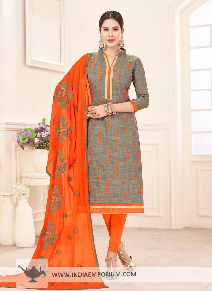 Tranquil South Cotton Embroidered Gray & Orange Churidar Suit