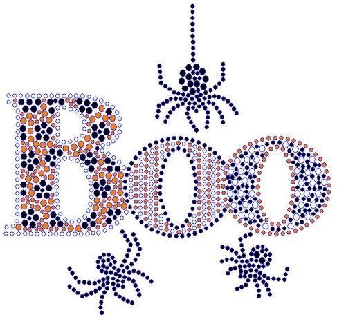 Boo With Spider Rhinestone Transfer Hotfix Pinterest