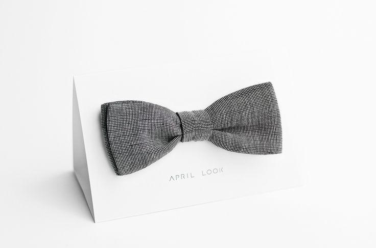 Charcoal bow tie - double sided w APRIL LOOK na DaWanda.com