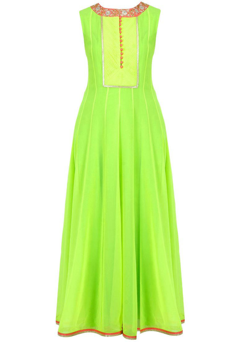 Neon green and pink embroidered pleated anarkali set available only at Pernia's Pop-Up Shop.
