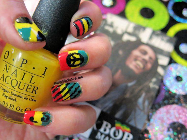 B De Bob Marley Retoabc Nails Nailart Rasta Reggae