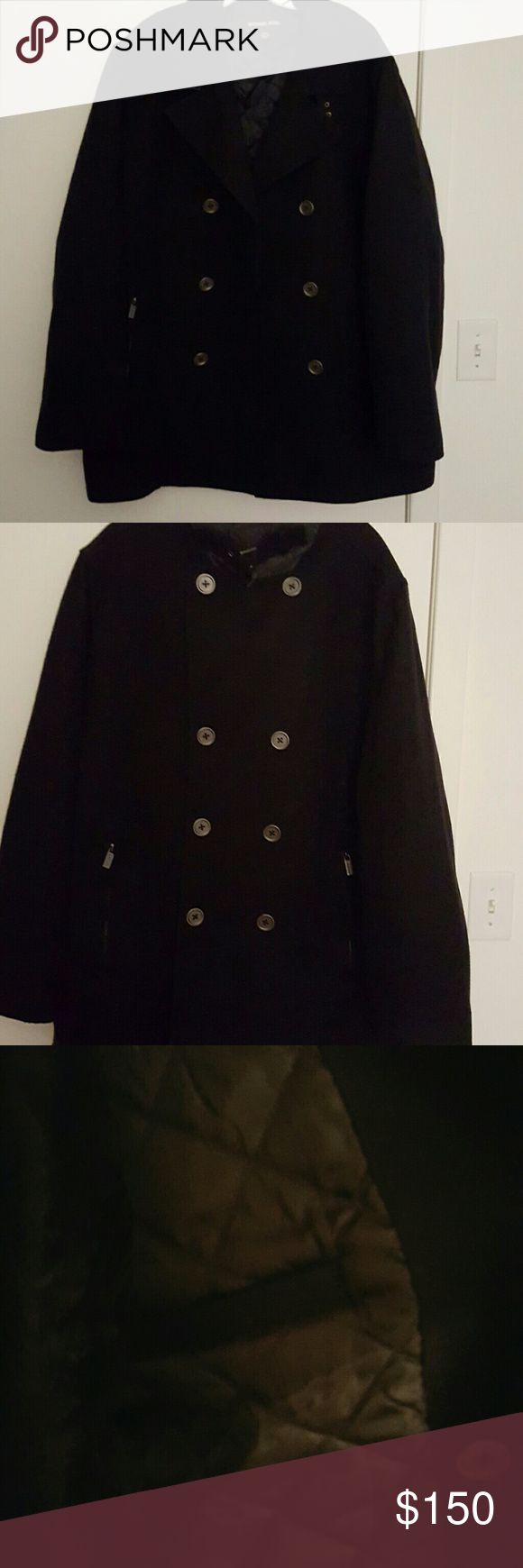 Michael Kors This is a navy blue Michael Kors pea coat. It has outside pockets which are zippered. There are inside pockets located on both sides of the jacket. The lining is quilted providing warmth. This coat is a size XL. The coat was worn but kept in good condition. Michael Kors Jackets & Coats Pea Coats