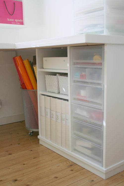 Home office. Great idea to build in those plastic storage drawer units.
