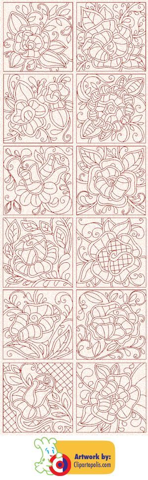 Victorian Redwork Roses...What a nice collection of rose patterns!..