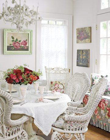 white wicker dining room