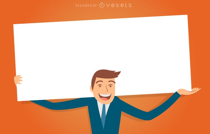 Interchangeable business man in different positions carrying a blank board to customize message. Design with Vexels online editor and get professional graphics!