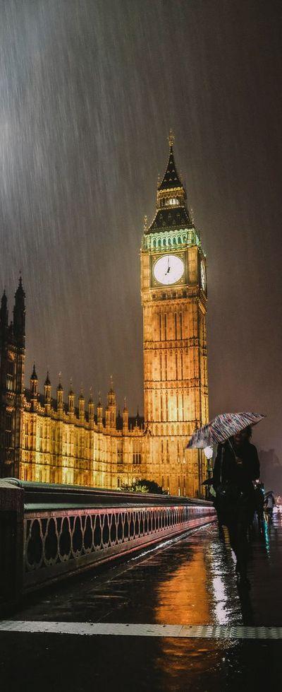 Rain on London, England, UK