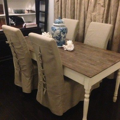 4 X French Provincial Hamptons Neutral Linen Slipcovers Dining Chairs