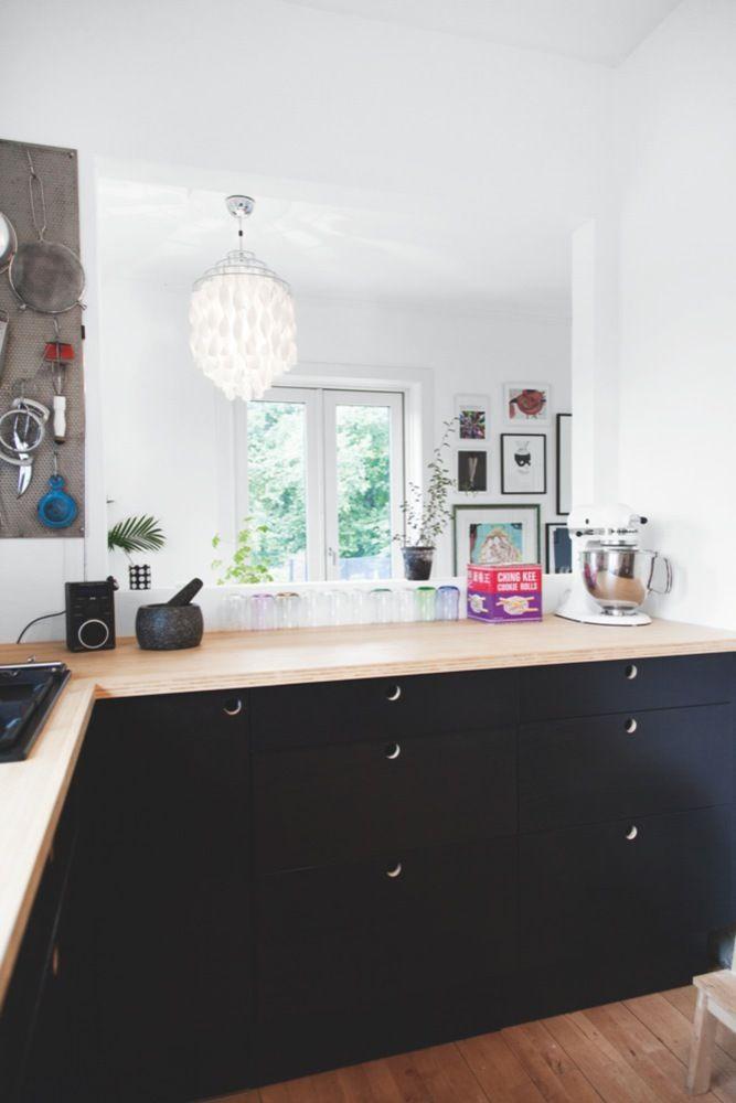 Kitchen // Anne Bundgaard: Kitchens Design, House Design, Artists Anne, Black Cabinets, Black Kitchens Cabinets, Interiors Design, Anne Bundgaard, Woods Countertops, Design Kitchens