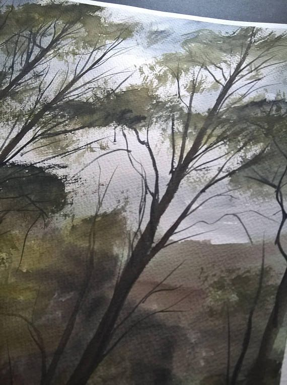 Watercolor Painting | Handmade | Wall Hanging | Home Decor | Landscape | Nature | Gift | Size: Height 50cm X Width 35cm