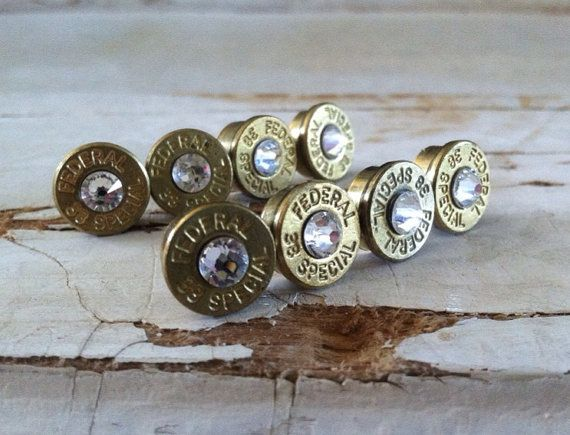 Bridesmaid gift bullet earrings 4 pair crystal studs  grooms gift camo wedding hunter diamond