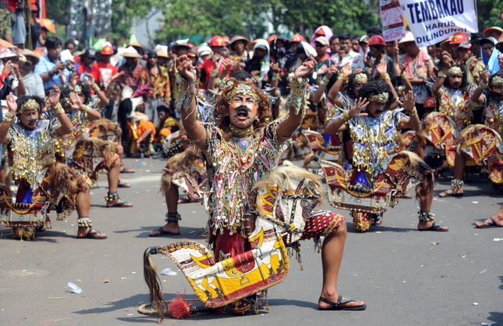 "Dancers perform a Javanese traditional dance ""Kuda Lumping"