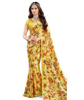Innovative Yellow And Multi-Color Satin Saree.