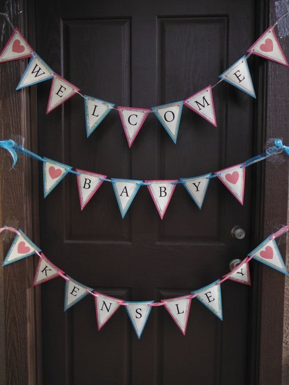 Welcome home baby pennant by specialmomentscrafts on etsy for Welcome home decorations for baby
