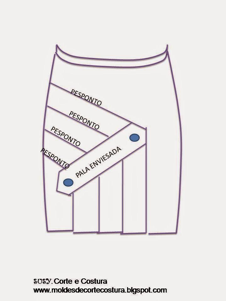 Moldes e dicas de costura: SAIA COM PREGAS NA FRENTE