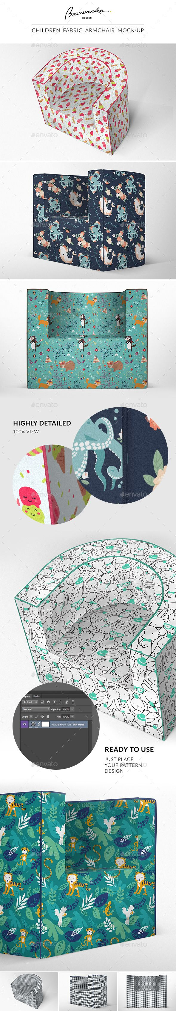 Children/baby fabric armchair mock-up. Perfect for Surface Pattern Designer to present their work :)  - photorealistic - 3 views - big resolution - easy to use