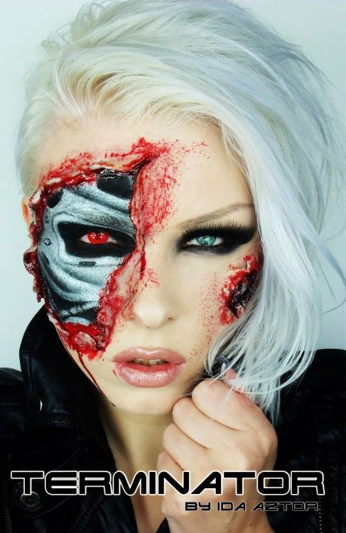 Terminator make up - This would be SUCH a good Halloween costume. You could just wear all black with boots, a leather jacket, and the make up would dress it up enough to look expensive. So awesome.