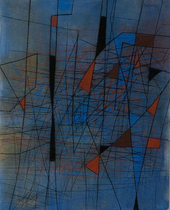 """Composition"" mixed medium on paper by Caziel (1906-1988). Provenance: Whitford Fine Art, London. Dimensions listed below do not include the frame. Framed dimensions: 29.75 h x 25 w CIRCA DATA: 1965 DIMENSIONS: 24"" h x 19.5"" w"