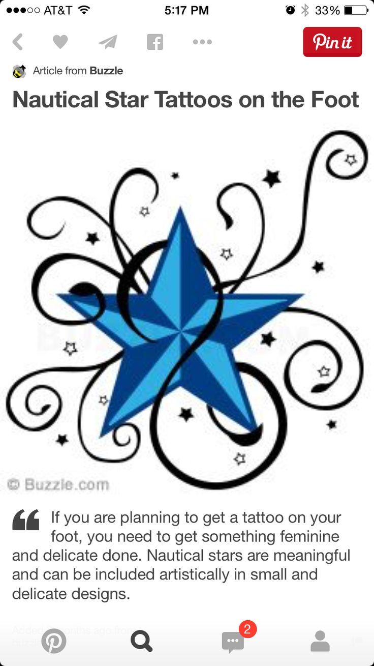 Nautical tattoos designs and ideas page 25 - Classy Nautical Star Tattoos To Get Etched On The Foot