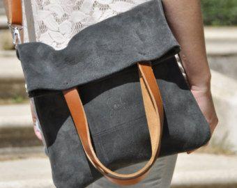 OFFERTA borsa in pelle borsa grigio in pelle borsa donna borsa crossbody borsa tote bag borsa quotidiana borsa casual personalizzato tote