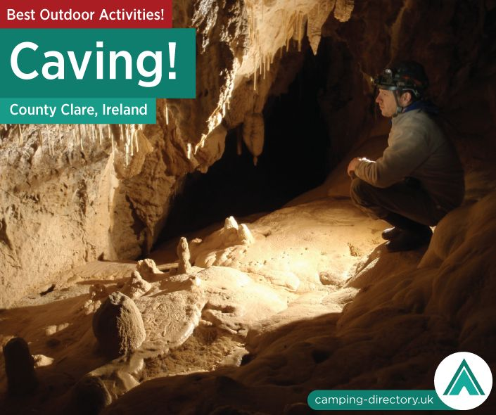 Outdoor Activity: Caving (County Clare, Ireland). Caving (also known as speleology or in some cases pot-holing) is the exploration of natural underground passages and chambers, usually formed where water has dissolved away limestone, or other similarly soft rock.