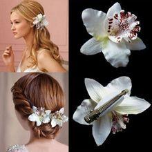 Donne della ragazza della boemia da sposa fiore di orchidea leopard clip di capelli forcelle barrette wedding decoration accessori per capelli spiaggia hairwear(China (Mainland))