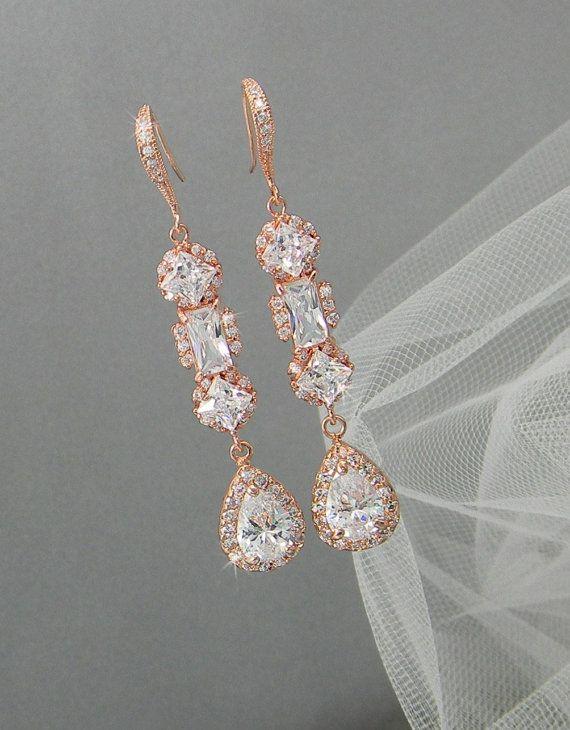 rose gold bridal earring fairytales pinterest. Black Bedroom Furniture Sets. Home Design Ideas