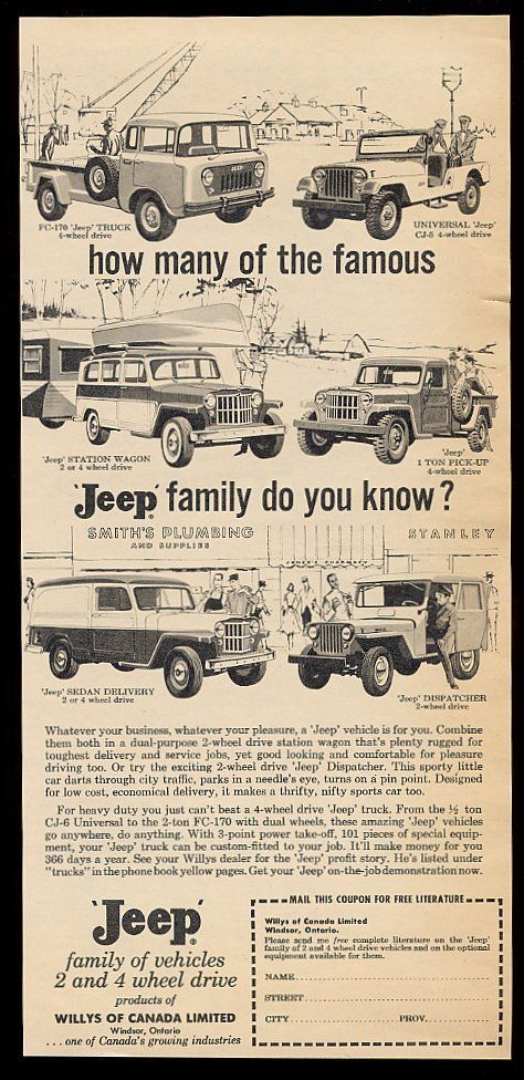1960 ad - ran in Canadian newspapers.
