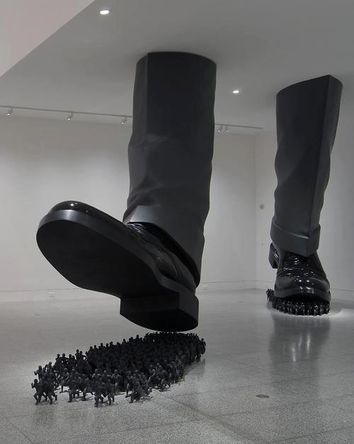 Corporate greed. Art installation at an unknown museum. Please comment if you know more about this artwork.