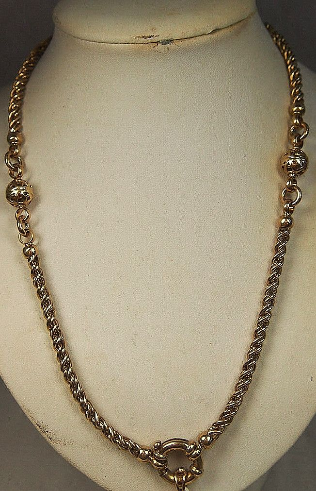 Jewellery-Necklace-Vintage - 9 carat Yellow Gold Cable Link Chain