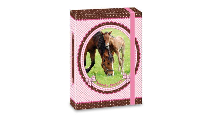 My Horse Lovas Füzetbox - A5 - Füzetborítók, Füzetboxok, Füzetcimkék - Nebuló Tanszeráruház.  A/5 méretű füzetbox kemény, tartós kartonból. Külseje matt fóliával és rózsaszín dekor fóliával, belseje egy színnel nyomott. 7 mm széles, erős gumipánttal. Füzetek, iratok tárolására vagy táska helyett is alkalmas.  Méret:160x220x35 mm.