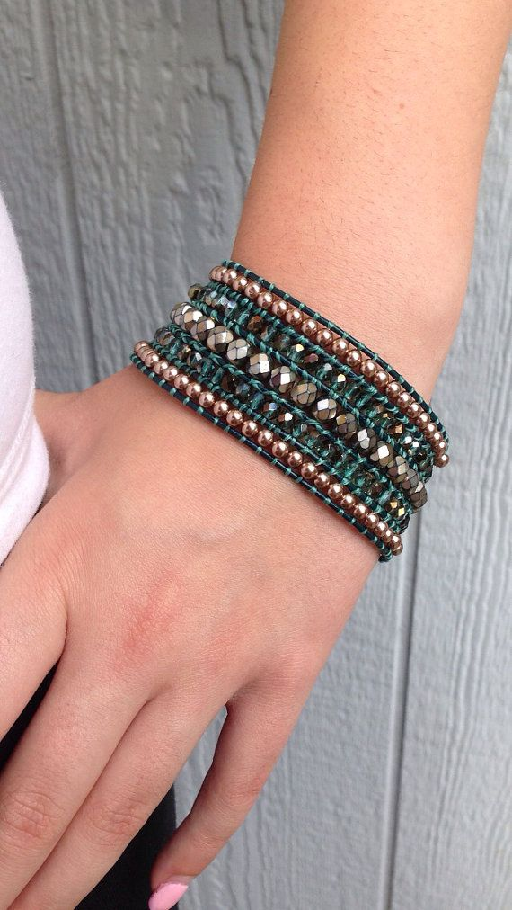 FIVE ROW Teal and Gold Beaded Leather CUFF by MyJealousHeart