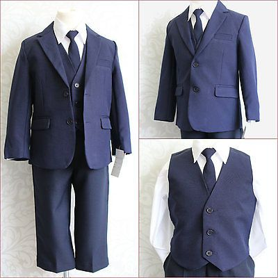 LTF NAVY/DARK BLUE BOY WEDDING RING BEARER PARTY FORMAL DRESS SUIT ALL SIZES