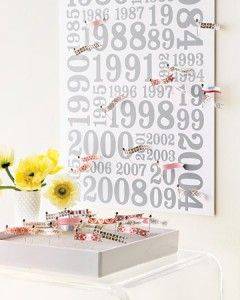 guest names go on flags that are pinned to the year they met you