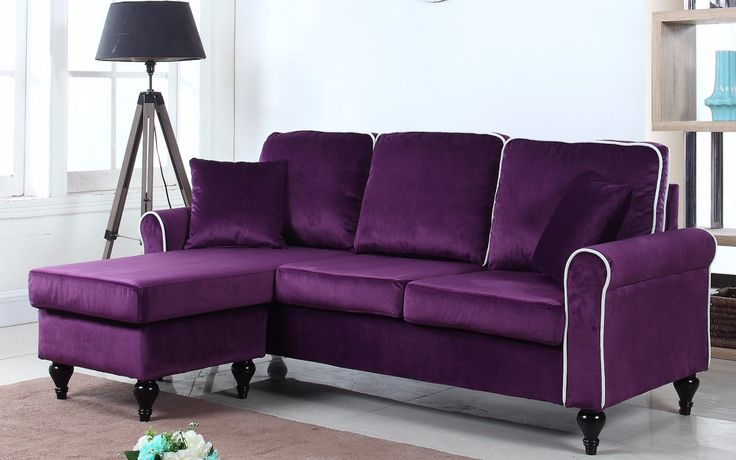 Traditional Small Space Velvet Sectional Sofa with Reversible Chaise - Purple