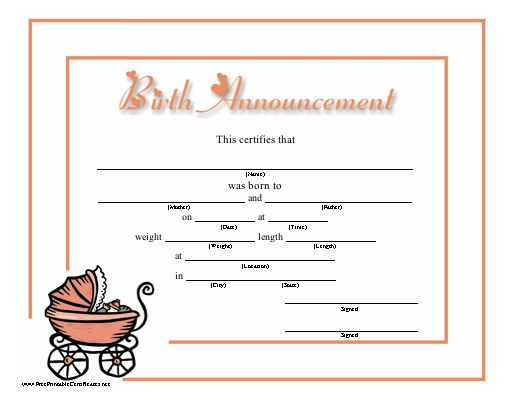 This birth announcement for a baby girl has lots of room for details and also pictures a pink for Free printable birth announcements